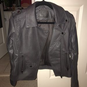 BlankNYC grey leather moto jacket